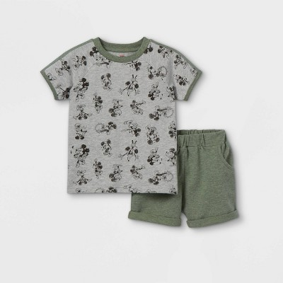 Toddler Boys' 2pc Mickey Mouse Short Sleeve Top and Bottom Set - Gray