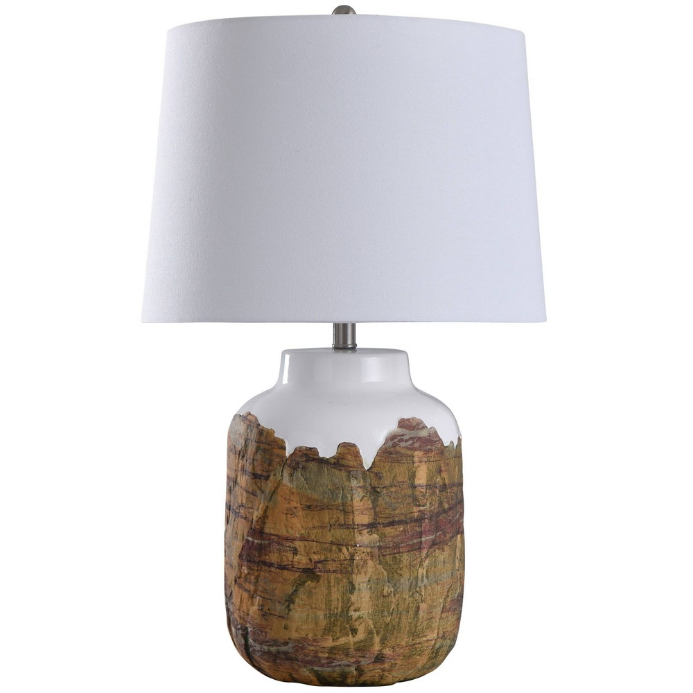 Canyon Textured Cylinder Ceramic Table Lamp With Tapered Drum Shade Brown Stylecraft