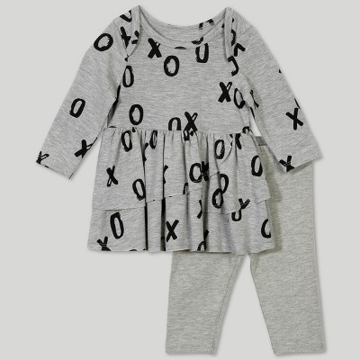 Afton Street Baby Girls' 2pc Long Sleeve Blouse and Leggings Set - Gray Newborn