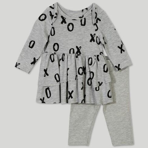 Afton Street Baby Girls' 2pc Long Sleeve Blouse and Leggings Set - Gray - image 1 of 5