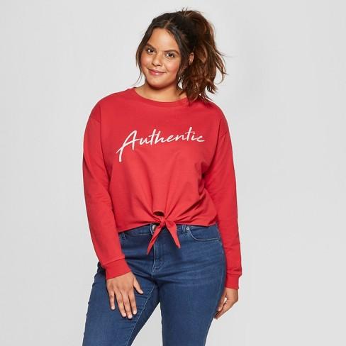 Women s Plus Size Long Sleeve Authentic Front Tie T-Shirt - FREEZE ... 8a9b02778a