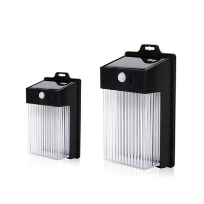 2pk LED Solar Rectangular Motion Sensing Wall Light - Techko Maid