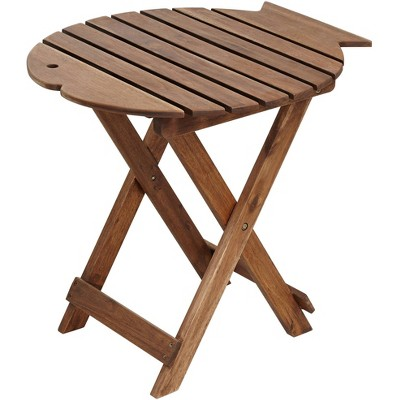 """Teal Island Designs Monterey Fish 21"""" Wide Natural Wood Outdoor Folding Table"""