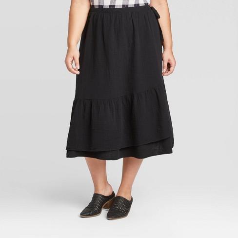 Women's Plus Size Midi Wrap Skirt - Universal Thread™ - image 1 of 3