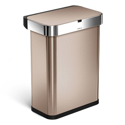 simplehuman 58L Single Compartment Sensor Steel Can Voice Plus Motion Control Rose Gold