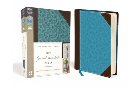 Holy Bible : New International Version, Journal the Word Bible, Brown/blue, Imitation Leather, Red - image 1 of 1