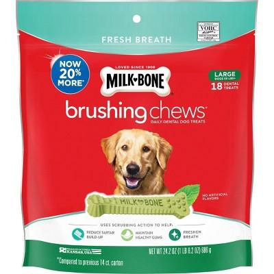 Milk-Bone Brushing Chews Daily Chicken Dental Dog Treats, Fresh Breath, Large 24.2oz/18 bones
