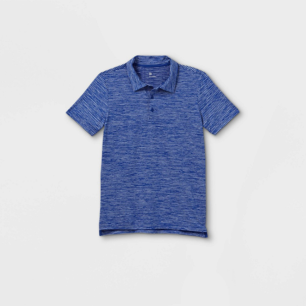 Boys 39 Striped Golf Polo Shirt All In Motion 8482 Heather Blue S