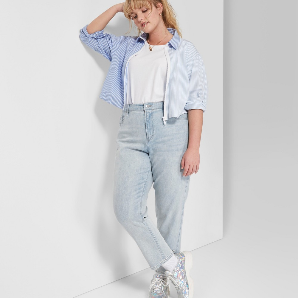 Women's Plus Size High-Rise Mom Jeans - Wild Fable Light Blue Wash 20W