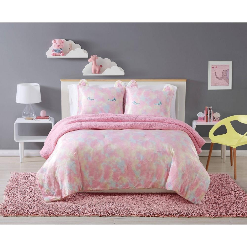Image of Full/Queen 3pc Rainbow Sweetie Comforter Set Pink - My World