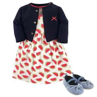 Hudson Baby Infant Girl Cotton Dress, Cardigan and Shoe 3pc Set, Watermelon