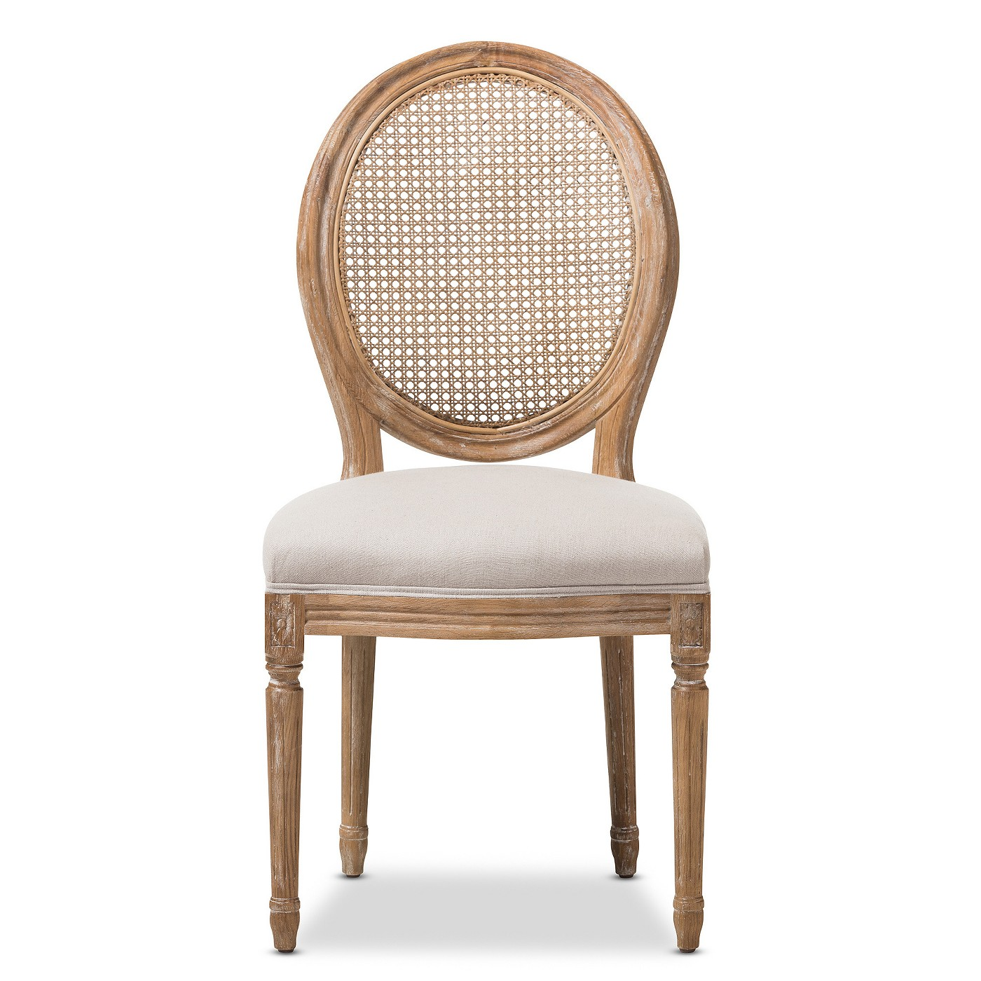 Adelia French Vintage Cottage Weathered Oak Wood Finish and Fabric Upholstered Dining Side Chair with Round Cane Back - Beige - Baxton Studio - image 2 of 5