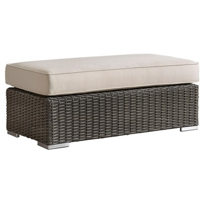 Riviera Pointe Wicker Patio Cocktail Ottoman With Cushion   Charcoal    Inspire Q