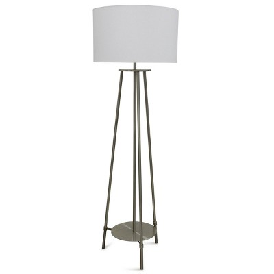 3 Post Floor Lamp with Low Metal Tray Tapered Drum Shade Silver - StyleCraft