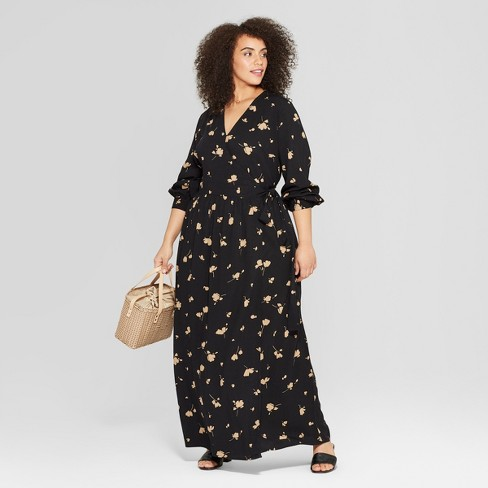 e52403d9013 Women s Plus Size Floral Print Long Sleeve Maxi Wrap Dress - Who What Wear™  Black   Target