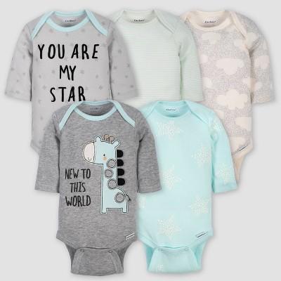Gerber Baby 5pk Long Sleeve Giraffe Bodysuits - Turquoise/Gray 3-6M