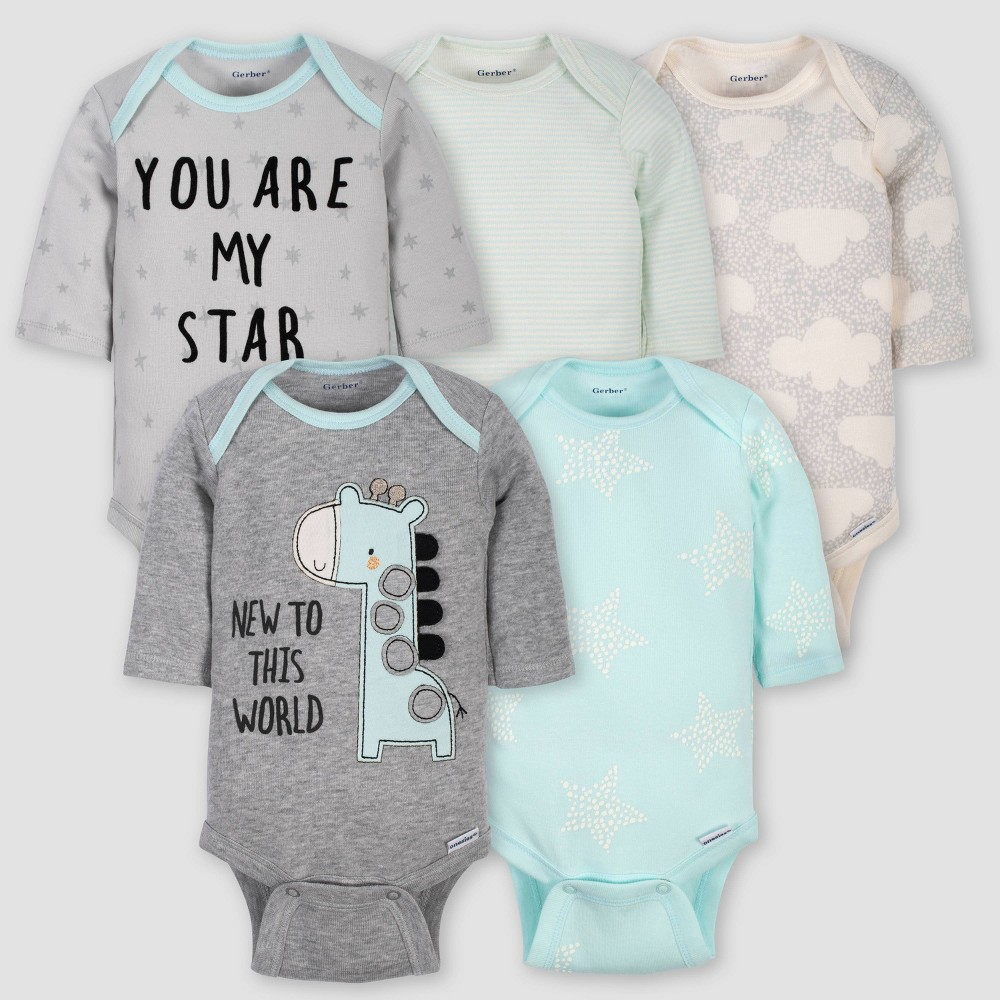 Image of Gerber Baby 5pk Long Sleeve Giraffe Bodysuits - Turquoise/Gray 0-3M, Kids Unisex, Blue