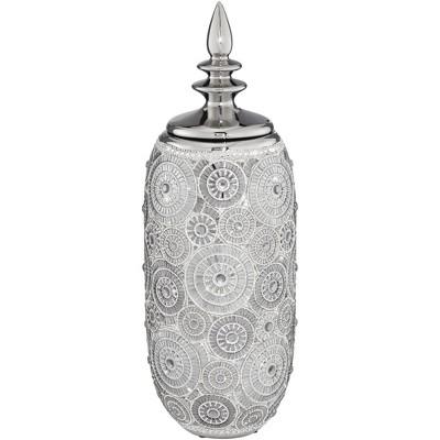 "Dahlia Studios Irene 17"" High Ceramic Silver Decorative Jar with Lid"