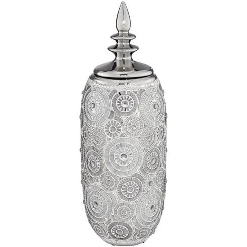"Dahlia Studios Irene 17"" High Ceramic Silver Decorative Jar with Lid - image 1 of 3"