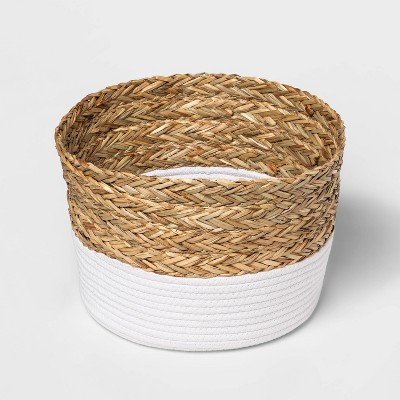 Round Basket in Braided Matgrass & White Coiled Rope - Threshold™