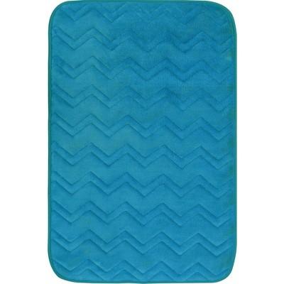 """20""""x30"""" Indulgence ZigZag Bath Mat Turquoise - Home Dynamix"""