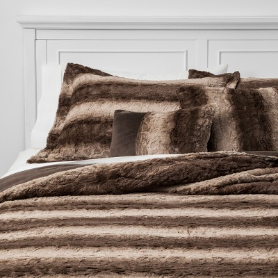 5pc King Striped Faux Fur Oslo Quilt Set Brown