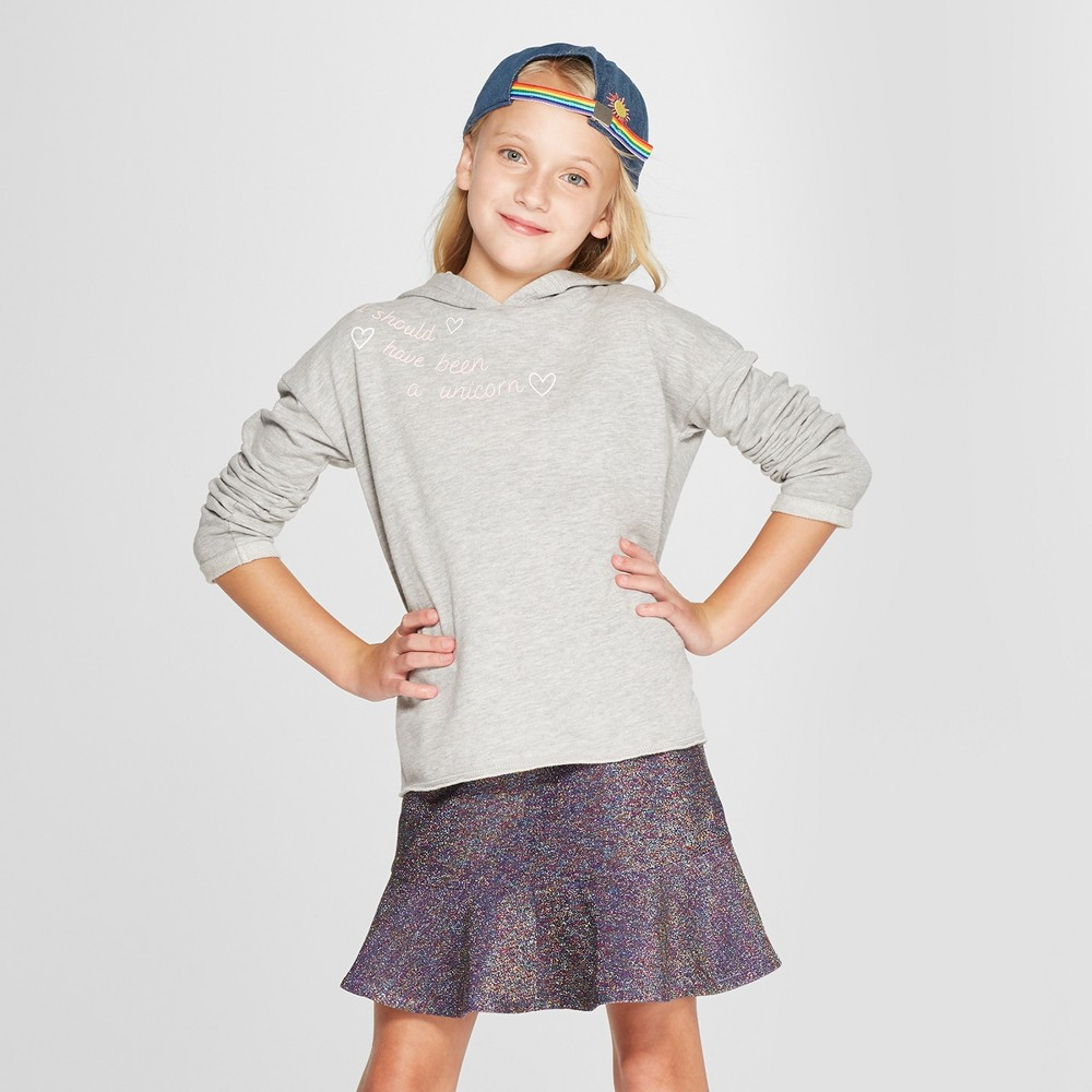 Image of Grayson Social Girls' 'Should Have Been a Unicorn' Hoodie - Gray L, Girl's, Size: Large