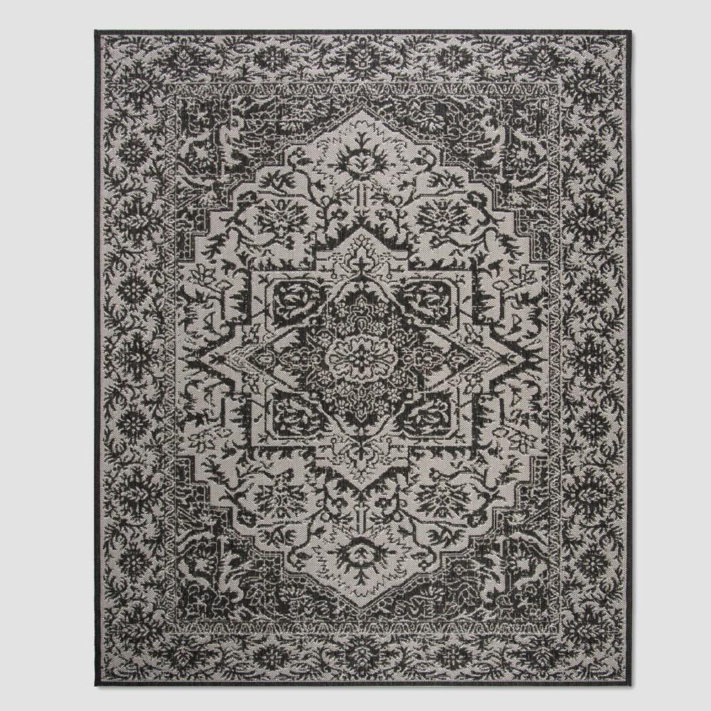 7'10 x 10' Valene Outdoor Rug Light Gray/Charcoal - Safavieh