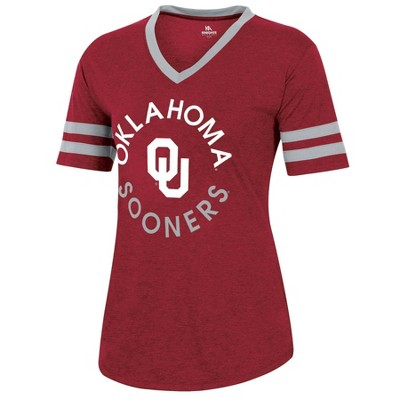 NCAA Oklahoma Sooners Women's Short Sleeve V-Neck Heathered T-Shirt