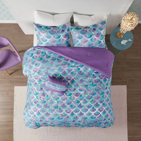 Full Queen 4pc Daphne Metallic Printed, Teal And Purple Ombre Bedding