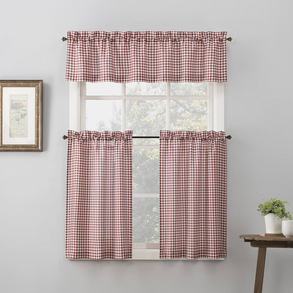 "Image of ""54""""x24"""" Parkham Farmhouse Plaid Rod Pocket Semi-Sheer Kitchen Curtain Valance and Tiers Set Red/White - No. 918, Size: 54""""x24"""""""