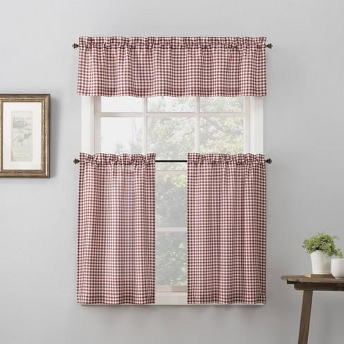 Parkham Farmhouse Plaid Rod Pocket Semi Sheer Kitchen Curtain Valance And Tiers Set No 918 Target