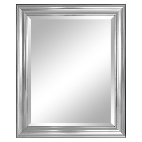 Rectangle Concert Beveled Decorative Wall Mirror with Silver Frame ...