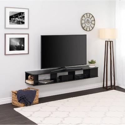 "70"" Wall Mounted TV Stand Black - Prepac"