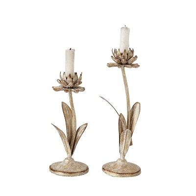 2pc Metal Taper Candle Holder Set with Flowers Gold/White - 3R Studios
