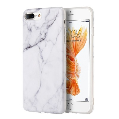 Insten Marble TPU Rubber Case Cover For Apple iPhone 7 Plus/8 Plus - White