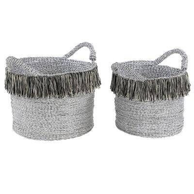 2pk Large Round Metallic Silver Aluminum Foil Storage Baskets with Black/Gray/Beige Yarn Tassels