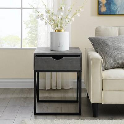 Nikolai Faux Shagreen Modern 1 Drawer Side Table - Saracina Home