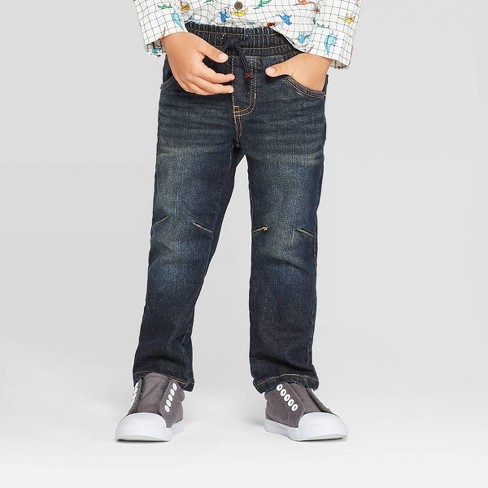 Toddler Boys' Pull-On Straight Jeans - Cat & Jack™ Dark Wash - image 1 of 3