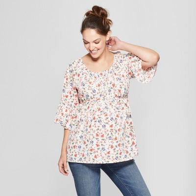 Maternity Floral Print Kimono Sleeve Top - Isabel Maternity by Ingrid & Isabel™ White S