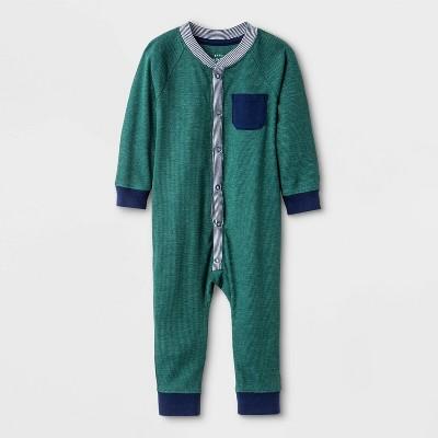 Baby Boys' Thermal Button Romper - Cat & Jack™ Green Newborn
