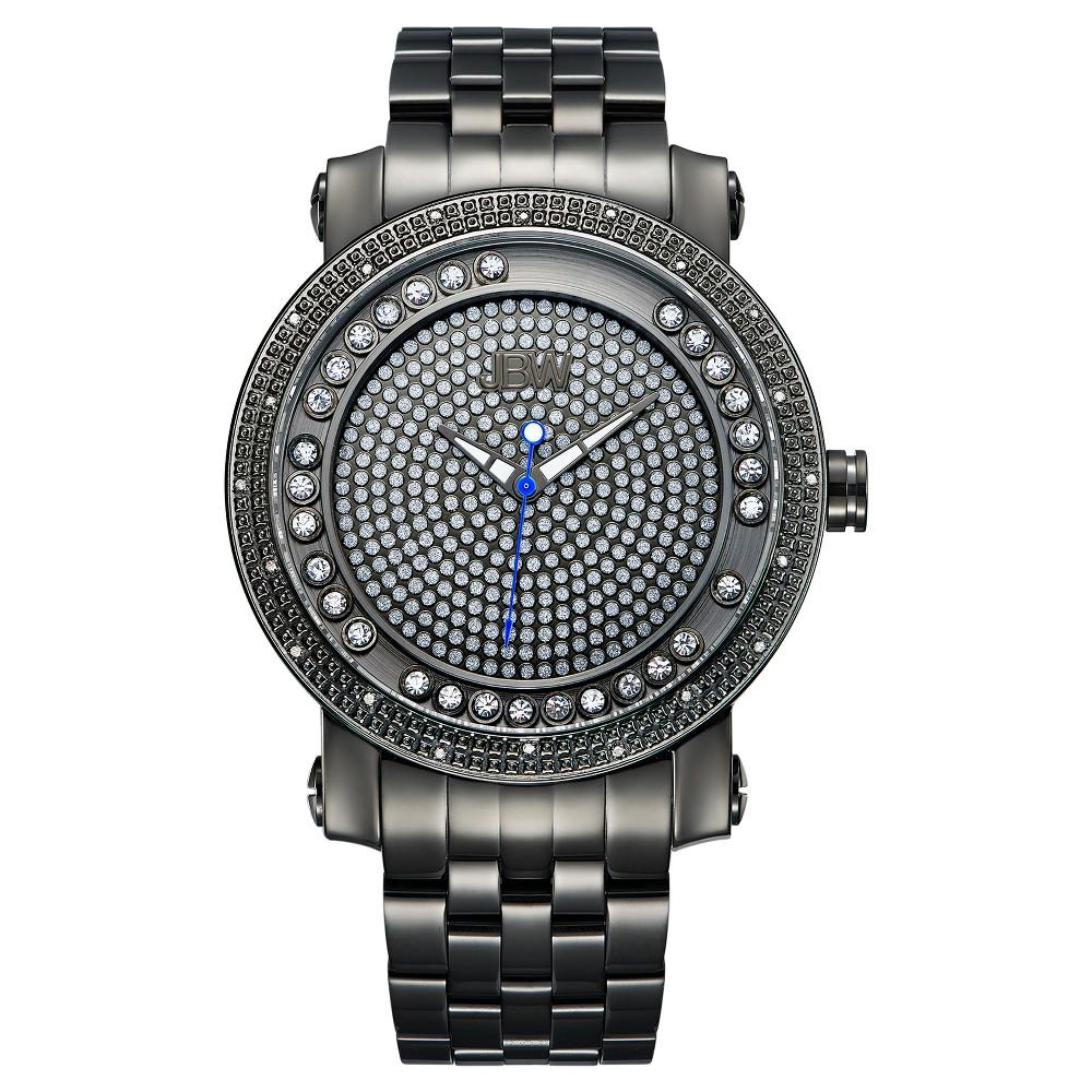 Image of Men's JBW J6338C Hendrix Japanese Movement Stainless Steel Real Diamond Watch - Black, Men's, Size: Small, Black Licorice