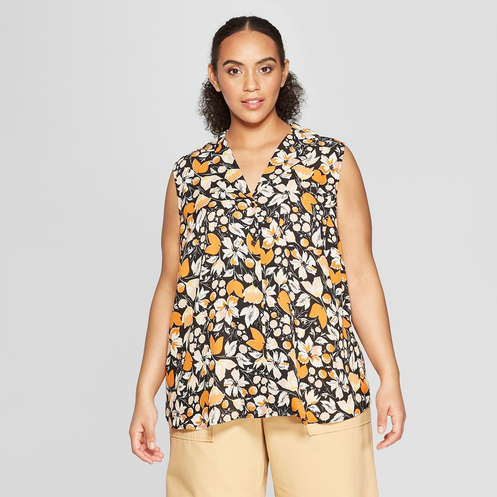 Women's Plus Size Floral Print Sleeveless Button-Up Front Pocket Top - Who What Wear Black 1X