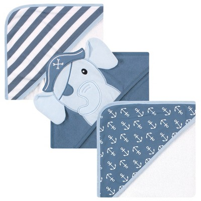 Hudson Baby Infant Boy Cotton Rich Hooded Towels, Pirate Elephant, One Size