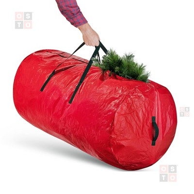 OSTO Round Waterproof Artificial Christmas Tree Storage Bag for Disassembled Trees up to 9 Feet 60x30x30 Inch