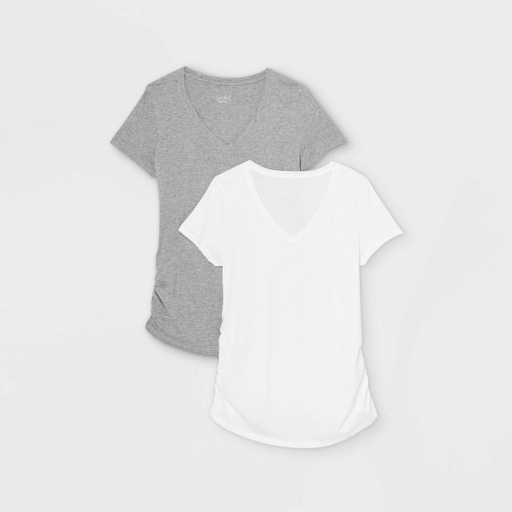 Maternity Short Sleeve V Neck Side Shirred 2pk Bundle T Shirt Isabel Maternity By Ingrid 38 Isabel 8482 White Gray Xxl