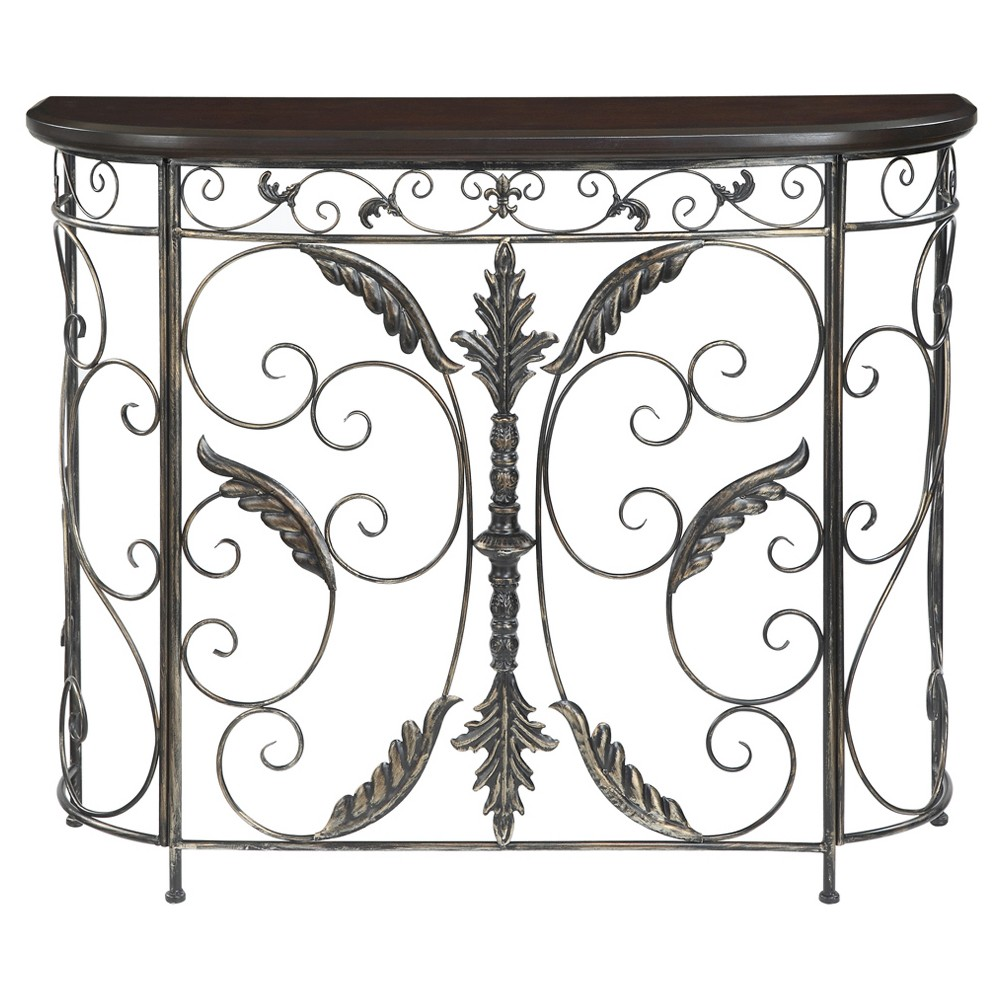 Wyoming Console Table - Oak Veneer / Antique Black - Convenience Concepts, Brown