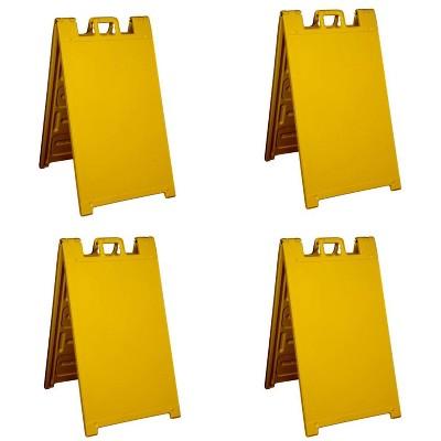 Plasticade Signicade A Frame Plain Portable Folding Sidewalk Sign, Yellow (4 Pack)