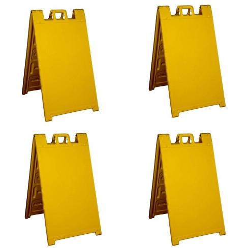 Plasticade Signicade A Frame Plain Portable Folding Sidewalk Sign, Yellow (4 Pack) - image 1 of 2