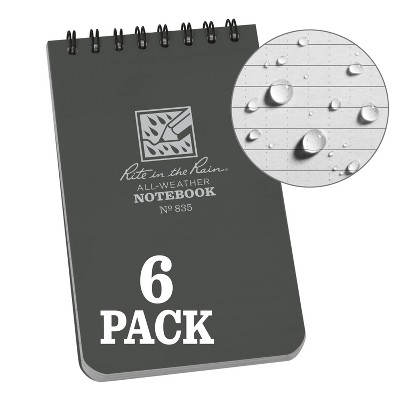 """6pk Spiral Notebook 1 Subject Special Ruled 3"""" x 5"""" Gray - Rite in the Rain"""